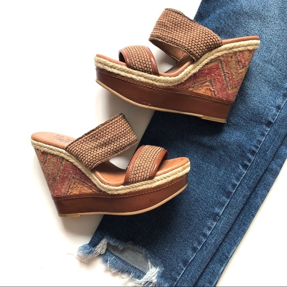 5f2c8cd19 Lucky Brand Shoes - Lucky Brand Tan Painted Cork Candy Wedge Sandals